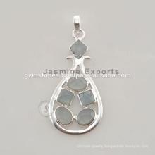 Handmade 925 Sterling Silver Aqua Chalcedony Gemstone Bezel Pendant Jewelry