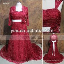 RSW197 Vestidos de casamento de renda vermelha de tamanho grande com mangas