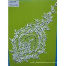 Vestido de casamento nupcial Tecido de renda com strass e pérolas Tecido de renda de marfim CMC123B-2