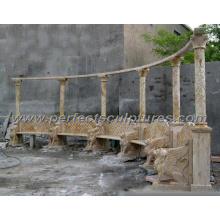 Geschnitzter Stein Marmor Gartenstuhl für Gartenmöbel (QTC060)