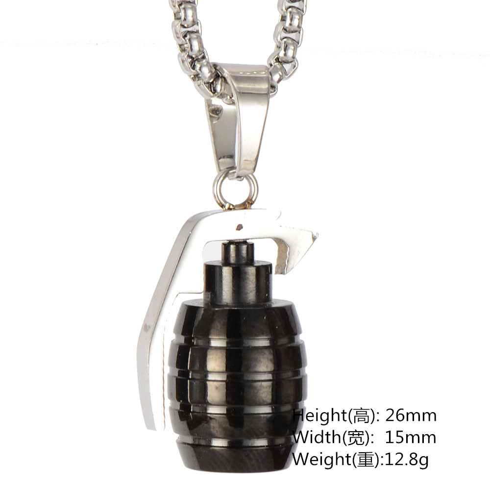 Hiphop Man Gold Hand Grenade Bomb Necklace Pendant