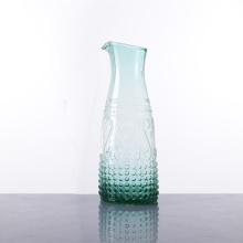 Unique Green Colour Raised Design Glass Pitcher