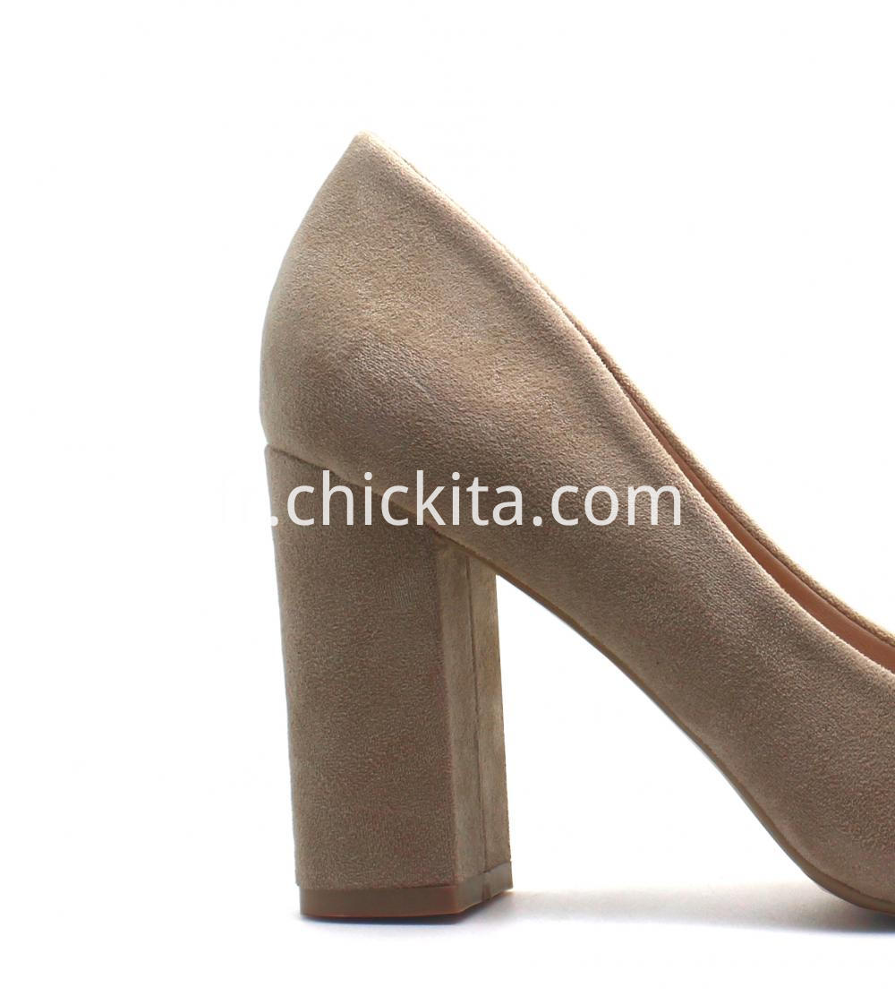 Womens Imitate Suede Point Toe Block Heel