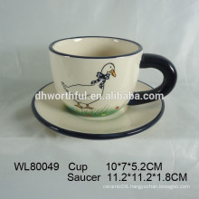 2016 new style duck decal ceramic mug with saucer for wholesale