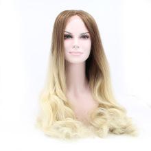 Pas cher Perruque synthétique extra-longue en dentelle avant synthétique résistant à la chaleur ondulée de la racine brune à la perruque blonde perruque naturelle
