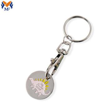 Porte-clés personnalisé de pièce de monnaie de jeton de chariot de logo de dinosaure