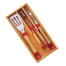 3pcs BBQ Tools set in houten kist