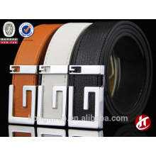 TOP 10 Factory Sell! Popular metal plate buckle hongmioo leather belt men business