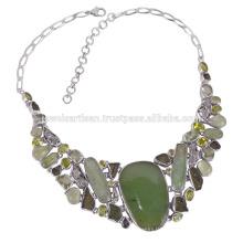 Метеорит Молдавит Prehniten Стерлингового Серебра Ожерелье Зеленый Камень Ожерелье