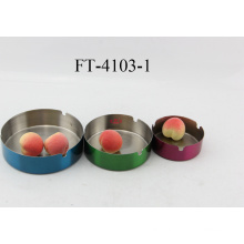 Stainless Steel 3PC Colorful Ashtray (FT-4103-1)