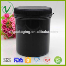 Cilindro HDPE proteína en polvo negro recipiente de plástico con tapa al por mayor 1000ml