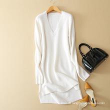 Frühling-Herbst Damen Strickwaren V-Ausschnitt langen Ärmeln dicken reinen Kaschmir-Pullover Kleid