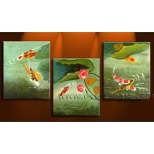 Hecho a mano, moderno, pared, arte, enmarcado, Koi, pez, pintura al óleo, lona, (an-024)