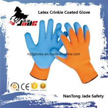 10g de algodão Palm Blue Latex Crinkle Finish Coated Safety Work Glove