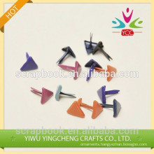 Decorative triangle shape metal scrapbook brads