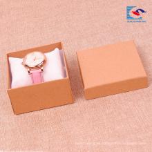 Caja de regalo de papel kraft liso para relojes de embalaje al por mayor con incrustación de almohada