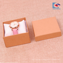 Boîte-cadeau de papier kraft ordinaire pour les montres d'emballage en gros avec l'inlay oreiller