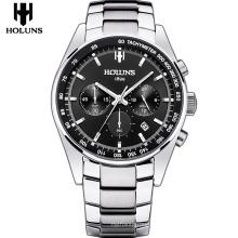 Reloj de acero inoxidable de negocios de moda para hombre de lujo con esfera negra y pantalla de calendario