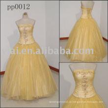 PP0012 vestido de vestido de bola amarelo