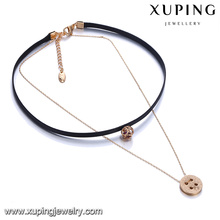 44120 Latest fashion lady jewelry two layers alloy gold charm and leather chain necklace with colorful stone pendant