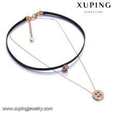 44120 Mais recente moda senhora jóias duas camadas liga charme de ouro e colar de corrente de couro com pingente de pedra colorida