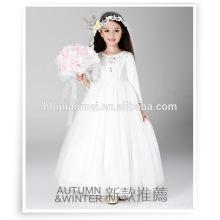 2016 nuevo diseño de fiesta de invierno desgaste vestido de niña de flores de una pieza de manga larga longitud del piso 1-6 años vestido de niña para la boda