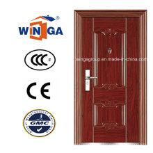 Guter Preis Brown Holz Farbe Außen Sicherheit Stahl Tür (W-S-110)