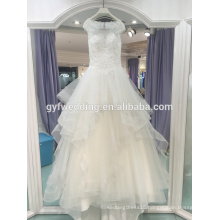 2017 new long section of the waist round sleeves sleeveless shoulder beads three-dimensional small tail wedding dress LJ-10040