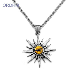 Stainless Steel Mens Evil Eye Pendant Necklace