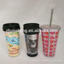 Vaso plástico de vaso plástico personalizadas tazas con el papel de introducir tazas de vaso plástico
