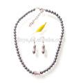 Moda Zircon Pearl Necklace Earrings Jewelry Set