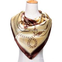 Moda impressão poliéster quadrados cadeias lenço de cetim de seda