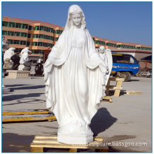 Life Size Religious Pure White Marble Virgin Mary Statue