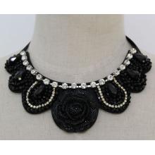 Flor de moda senhora frisada cristal bijuterias colar (je0120)