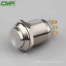 interrupteur à bouton poussoir étanche en métal 2NO2NC 22mm dpdt
