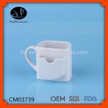 Caneca de cerâmica com titular de saco de chá, caneca de cerâmica para cookie, caneca de chá de porcelana