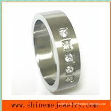 Art- und Weiseschmucksache-Ring-5PCS Steine verlegten Edelstahl-Ring (CZR2524)