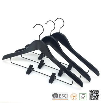 HH Black clipes ajustáveis terno de madeira cabides
