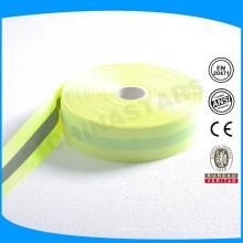 Ruban de polyester fluorescent réfléchissant de 5 cm de bonne qualité pour les vêtements de sécurité