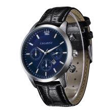 6832 montre-bracelet pour homme 43 mm boîtier multi-fonction date fenêtre 3 yeux