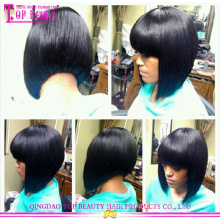 New style 5A handmade virgin indian remy human hair bob wigs with bangs