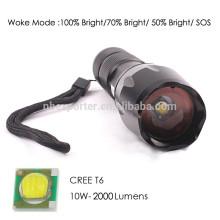 T6 / 10W-2000 Lumens, la plus puissante lampe de poche en aluminium avec batterie 18650