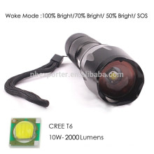 T6 / 10W-2000 люмен, самый мощный алюминиевый светодиодный фонарик с батареей 18650