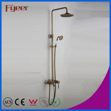 Fyeer Wall Mounted Rainfall Bathroom Antique Brass Shower Mixer