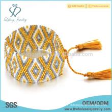Pulseira envoltório bohemian nova chegada do grânulo, envoltório frisado ajustável em torno dos braceletes