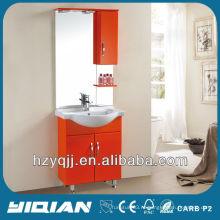 Горячая продажа Свободно стоящий иракский и турецкий простой дизайн с шкафами Глянцевый оранжевый шкаф для ванной комнаты MDF Vanity Vanity