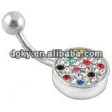 Slave piercing crystal belly bar body jewelry