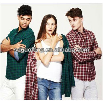 camisa tecido cvc 55% algodão 45% tecido de poliéster fios tingidos tecido