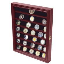 Estante de exhibición de la tienda del tenedor de monedas de la caja de madera de la moneda