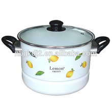 enamel steamer cookware & food warmer with plasyic handle